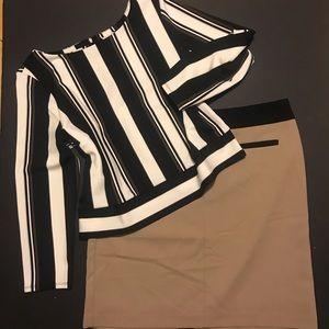 Worthington tan and black pencil skirt.